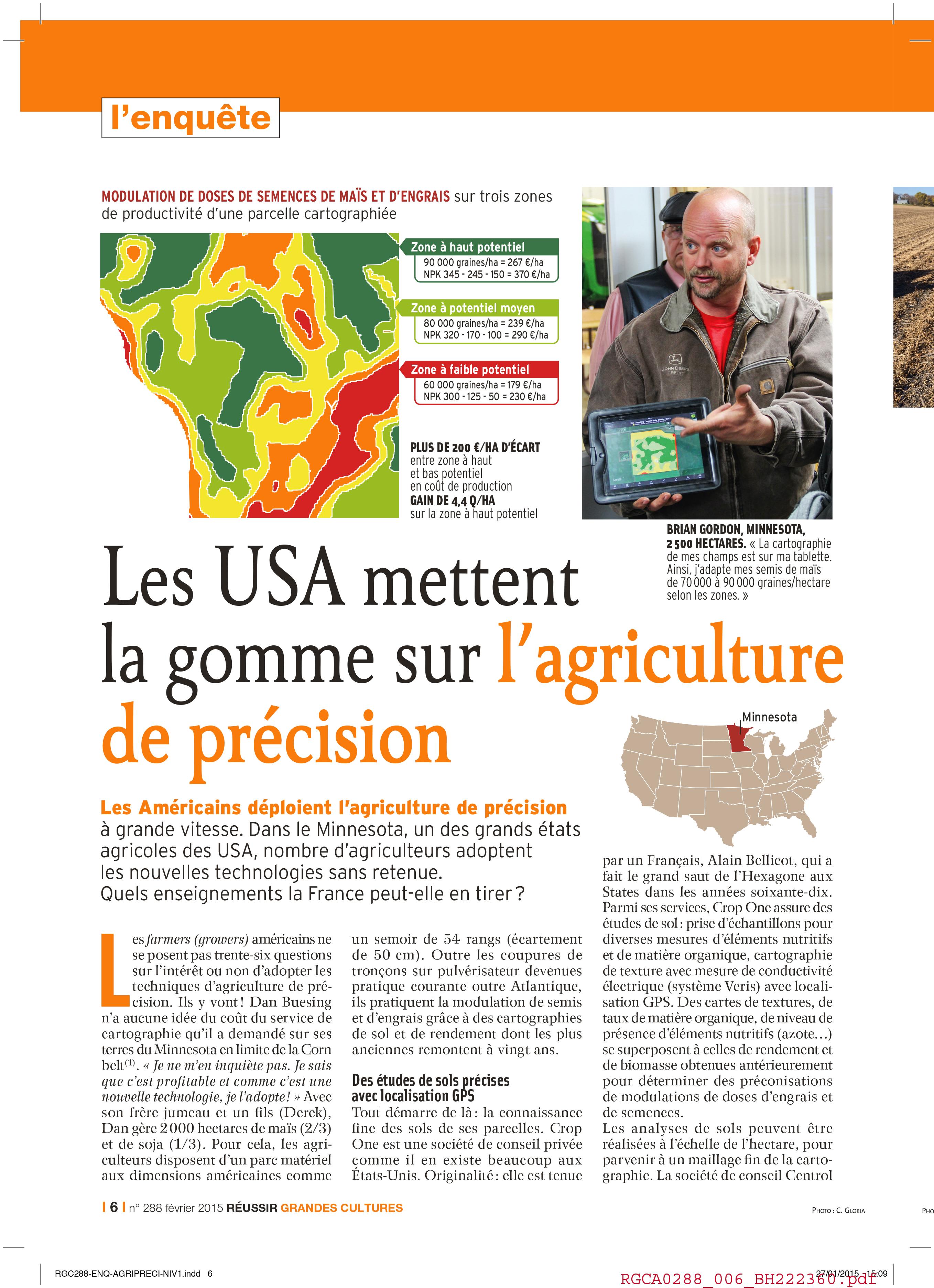 Les USA et l'agriculture de précision